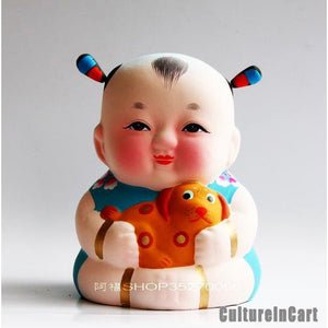 Fuwa with Dog Chinese Zodiac Clay Figurine - cultureincart.com