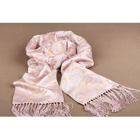 Finest nature silk handmade pink embroidered dragon nanjing brocade scarf