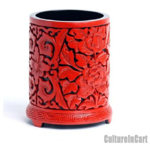 Aulic Carved Lacquer Peony Brush Pot