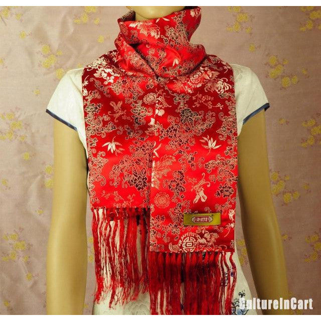 Red Chrysanthemum Brocade Scarf