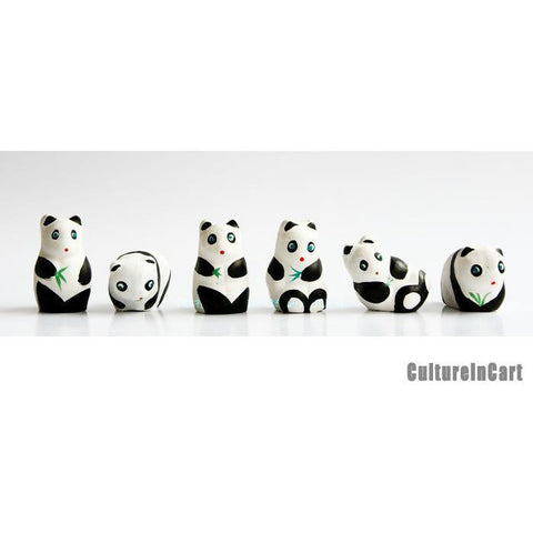 Mini Panda Clay Figurine Suite