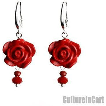 Vintage Style Rose Carved Lacquer Earrings