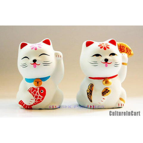 Fortune Cat Clay Figurine