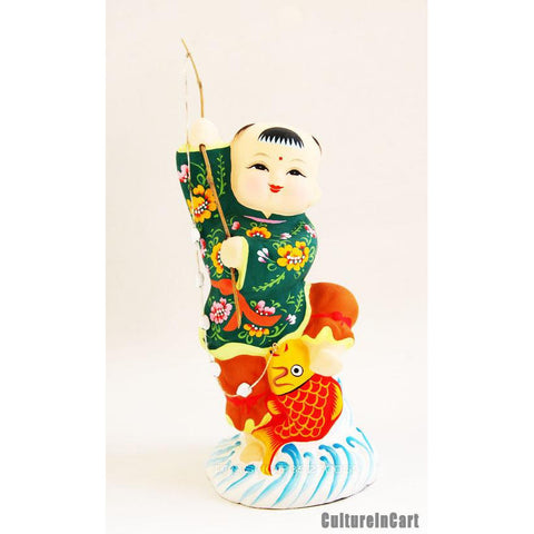 Fuwa Fishing for Carp Clay Figurine