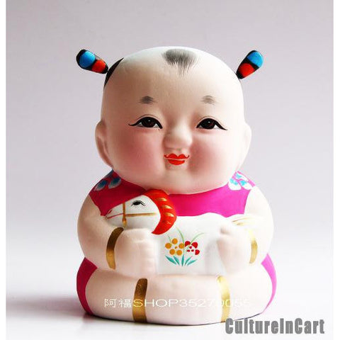 Fuwa with Horse Chinese Zodiac Clay Figurine