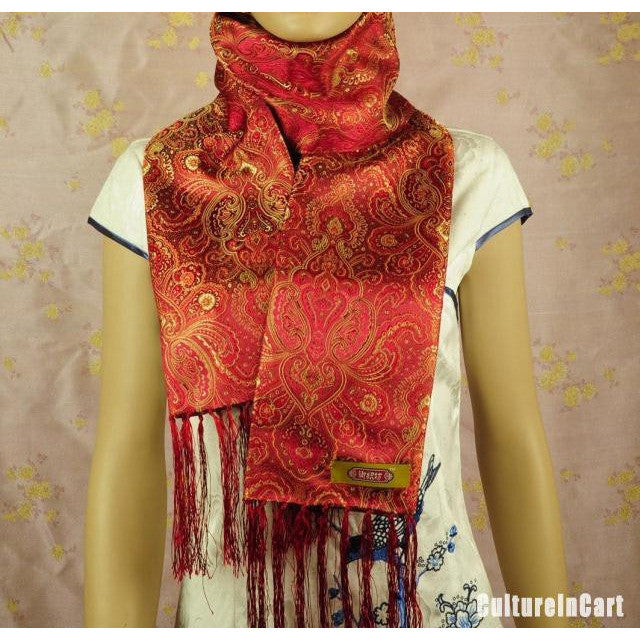 Red Embroidered Flowers Brocade Scarf