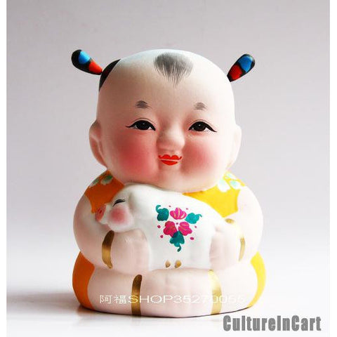 Fuwa with Pig Chinese Zodiac Clay Figurine