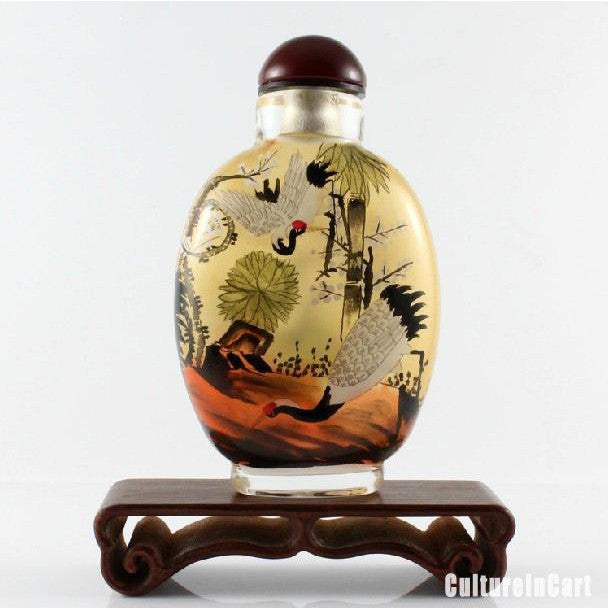 Classical Cranes Inner Painting Snuff Bottle