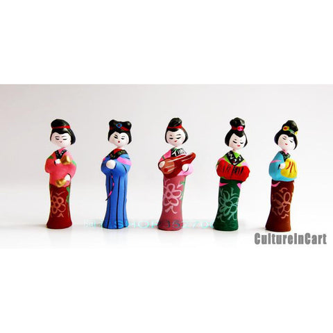 Chinese Ancient Ladies Clay Figurine Suite