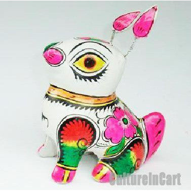 Clay Sculpture Chinese Zodiac Large Coloured Rabbit