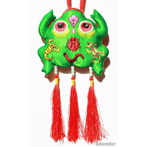"""Peace all Year Round"" Little Frog Embroid Perfume Bag"