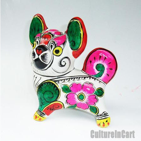 Clay Sculpture Chinese Zodiac Large Coloured Dog