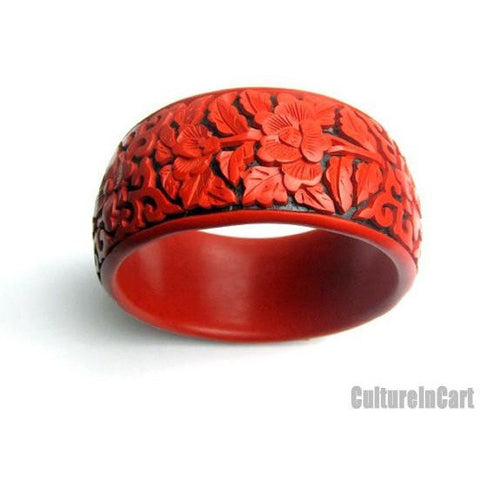 Four Seasons Flower Broad Carved Lacquer Bracelet