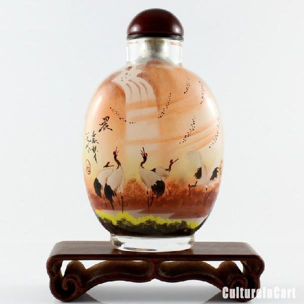 Cranes Under Sunset Snuff Bottle