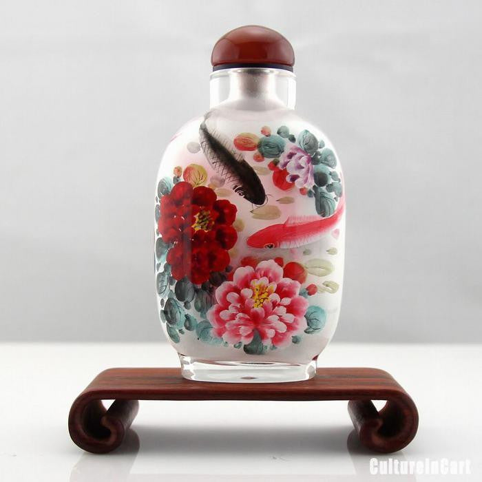 Carp and Peony Inner Painting Snuff Bottle - cultureincart.com