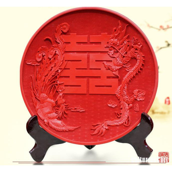 Wedding Gift Red Dragon and Phoenix  Double Happiness Carved Lacquer Plate - cultureincart.com