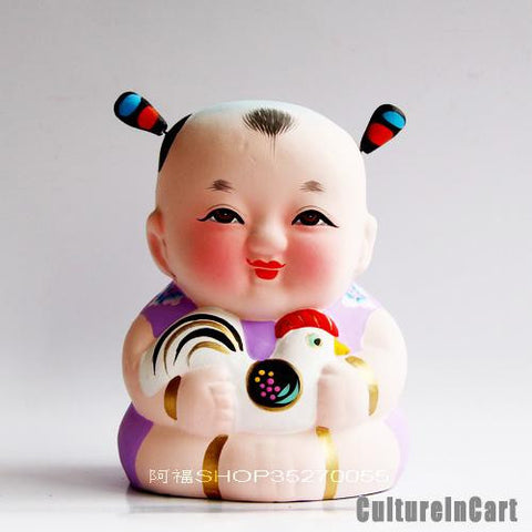 Fuwa with Rooster Chinese Zodiac Clay Figurine