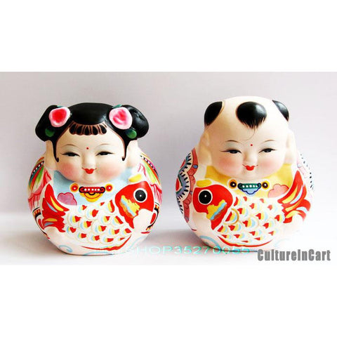 Exquisite Fortune Fuwa and Carp Clay Figurine