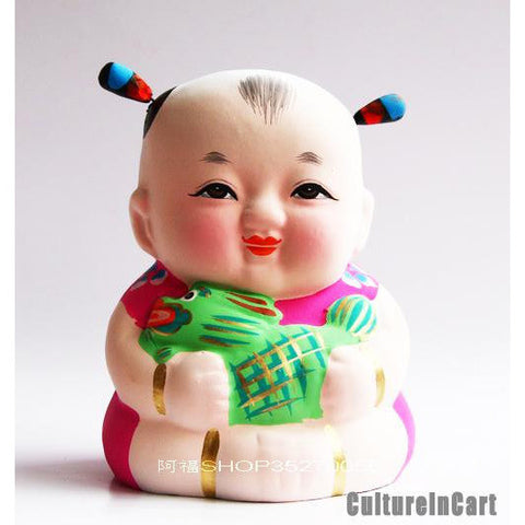 Fuwa with Dragon Chinese Zodiac Clay Figurine