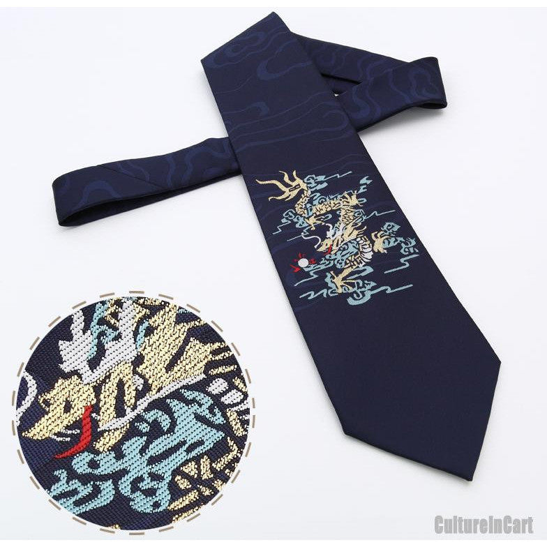 Nature silk embroidered flying dragon dark blue nanjing brocade tie
