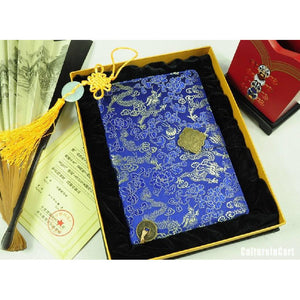 Blue Embroidered Dragon Brocade NoteBook - cultureincart.com