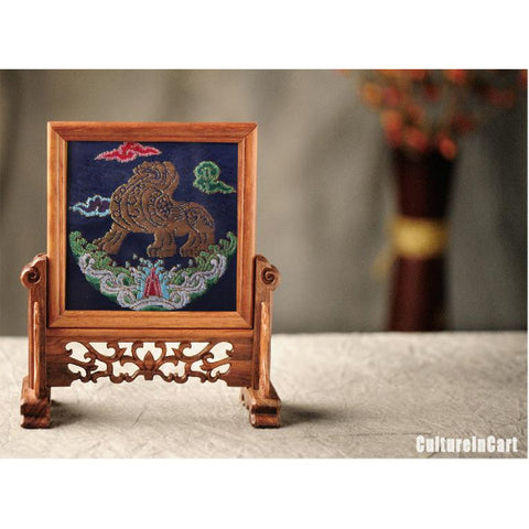 Blue Pixiu Retro Wood Brocade Decoration