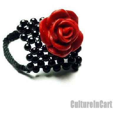 Classical Handmade Black Agate Carved Lacquer Rose Ring