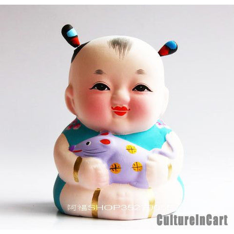 Fuwa with Rat Chinese Zodiac Clay Figurine