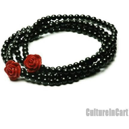 Four Rings Rose Black Agate Carved Lacquer Bracelet