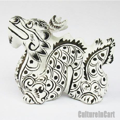Clay Sculpture Chinese Zodiac White Dragon - cultureincart.com