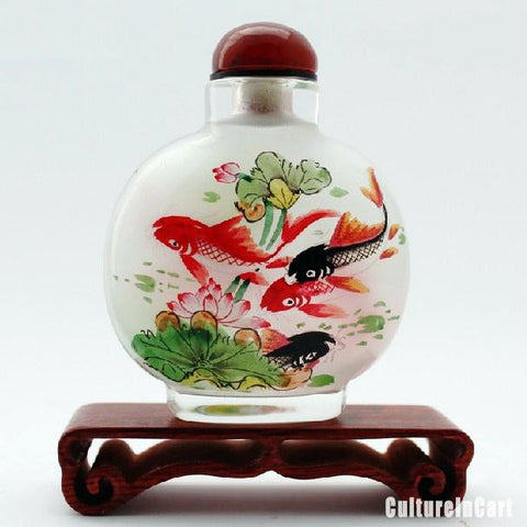 Lotus and Carp Snuff Bottle