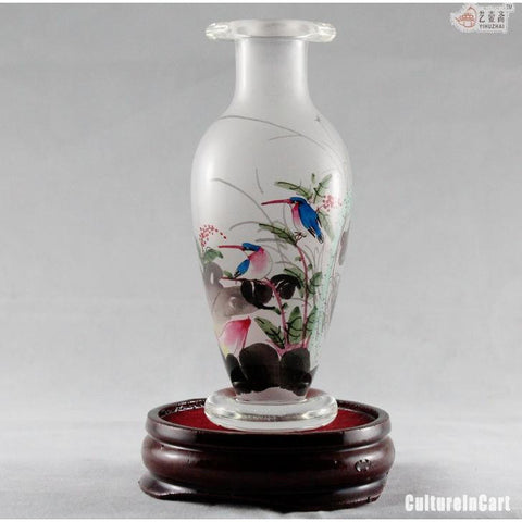Lotus Chinese Painting Snuff Vase