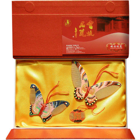 Wedding Gifts Butterfly and Double Happiness Handmade Changzhou Comb Suite