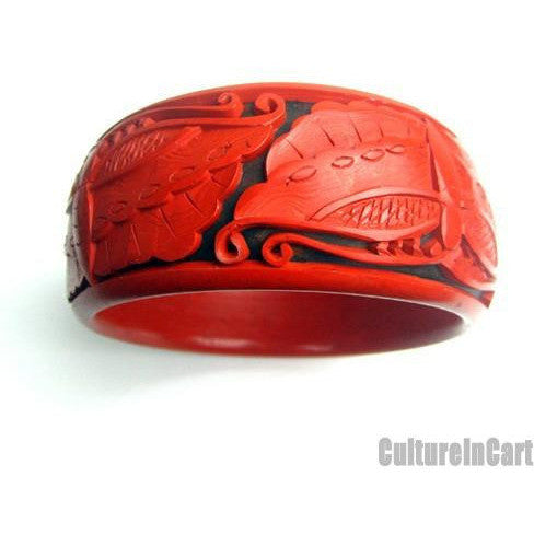 Butterfly Broad Carved Lacquer Bracelet