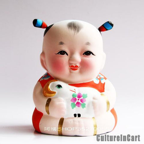 Fuwa with Goat Chinese Zodiac Clay Figurine