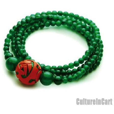 Exquisite Phoenix Bead Dark Jade Carved Lacquer Bracelet