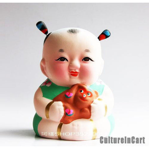Fuwa with Monkey Chinese Zodiac Clay Figurine