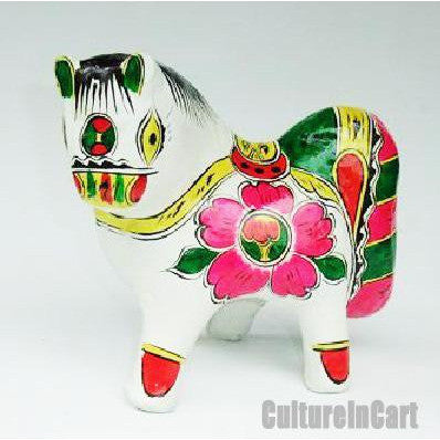 Clay Sculpture Chinese Zodiac Large Coloured Horse