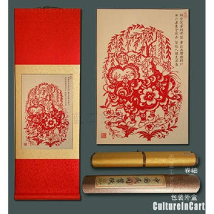 Chinese Zodiac Ox Paper Cutting Scroll Painting - cultureincart.com
