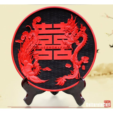 Wedding Gift Black Dragon and Phoenix  Double Happiness Carved Lacquer Plate