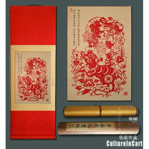 Chinese Zodiac Rat Paper Cutting Scroll Painting - cultureincart.com