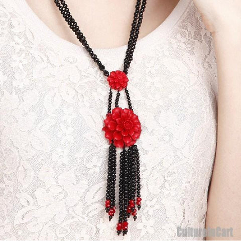 Pairs of Peony Black Agate Carved Lacquer Necklace