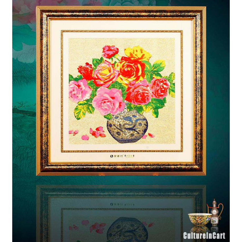 Masterpiece Peony Wood Framed Brocade Picture