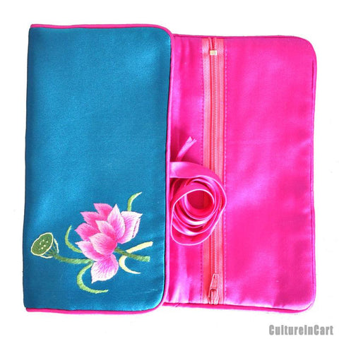 Lotus Blue Hand Embroidery Wallet