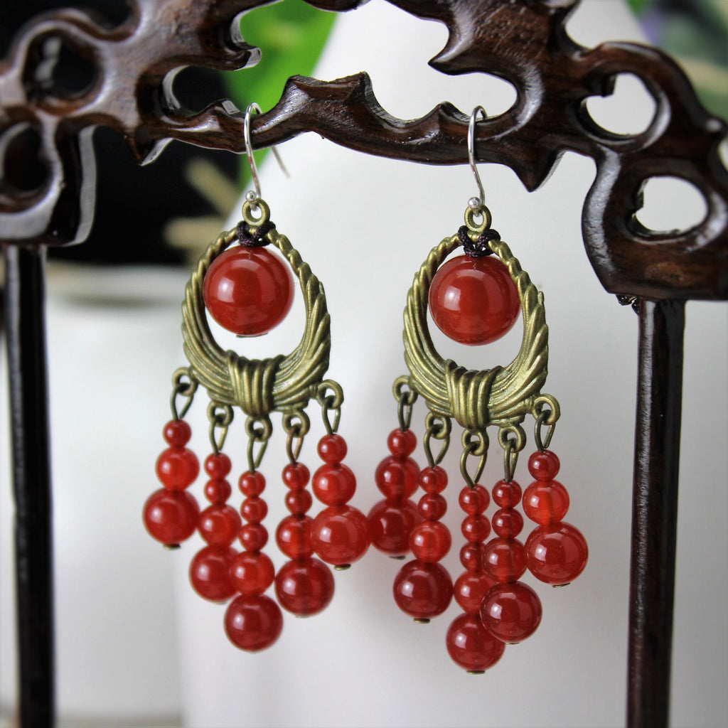 Luxurious Bohemian delicate long tassel agate earrings - cultureincart.com