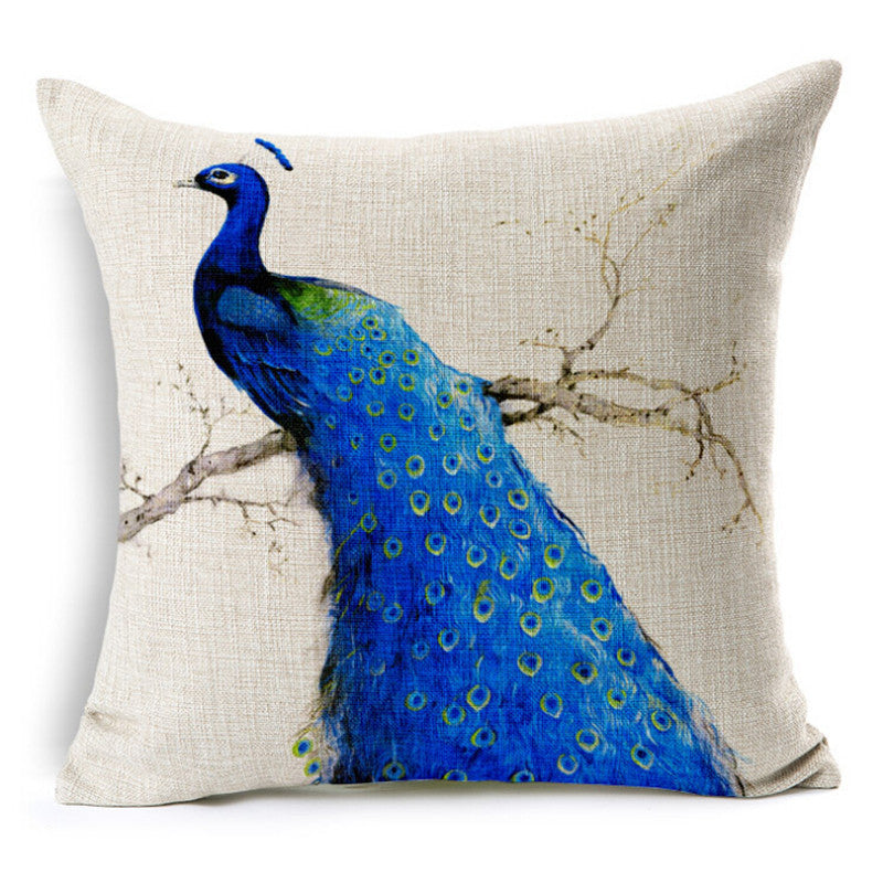 Oriental style classical fabric linen back peacock cushion