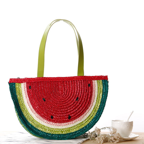 Cute multicolored semi -circle fresh woven bag