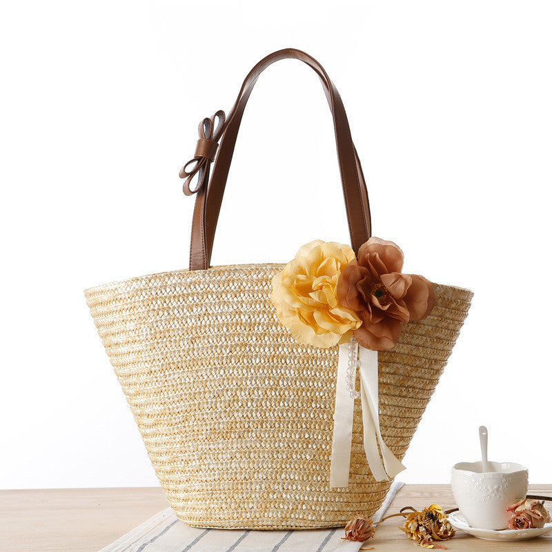 Vintage double flowers pure color hand woven cuim bag