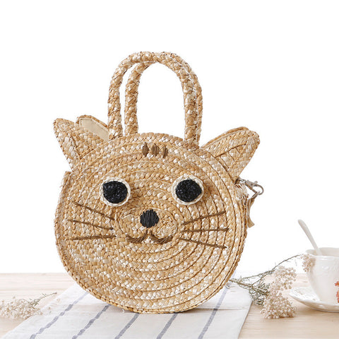 Cute little cat dual-use woven handbag