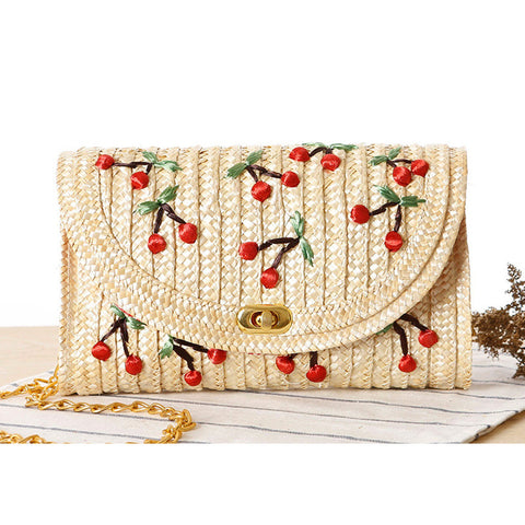 Cute handmade woven cherry simple fresh style mini bag handbag